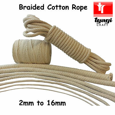 Braided Cotton Rope ALL SIZES LENGTHS 100% Natural Cord Camping Pet Safe Bag