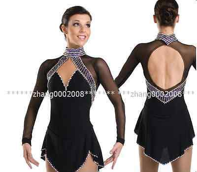 Ice skating dress. black Competition Figure Skating dress. Baton Twirling custom
