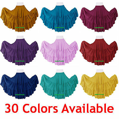 100% Cotton 10 Yard 3 Tiered Gypsy Skirt Belly Dance Flamenco Soft Jupe Tribal