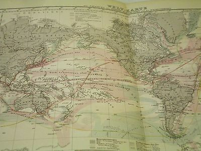 Antique Stieler's Hand Atlas World map 1878 Ocean Currents German