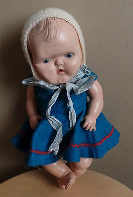 Antique SUNRUCO Gerber Style VICEROY Child DOLL with blue Dress