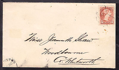 1875 SMALL QUEEN #37 3c COVER TO WOODBOURNE, ONT.
