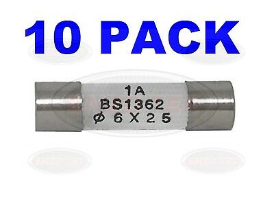 10 x 1A 1 AMP DOMESTIC HOUSEHOLD FUSE MAINS PLUG CARTRIDGE CERAMIC TUBE FUSE