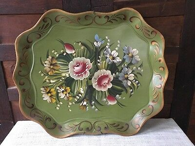 Large Vintage FLORAL ROSES Hand Painted GREEN TOLEWARE CHIPPENDALE Tray w/hanger