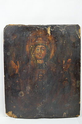THE HOLY SIGN - ANTIQUE OLD RUSSIAN HAND PAINTED WOODEN ICON, BIG 315mm x 260mm