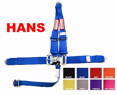 "Hans Racing Harness Sfi 16.1  5 Pt V Roll Bar  3"" Latch & Link Blue Any Color"