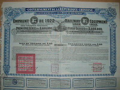 China: Republique Chinoise  Railway Equipment 1922  uncancelled with Coupons