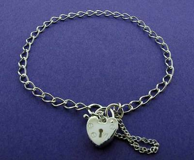 Ladies 925 Sterling Silver Curb Chain Link Charm Bracelet Heart Padlock Charms