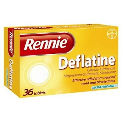 Rennie Deflatine Trapped Wind and Bloatedness Relief Sugar Free Mint 36 Tablets