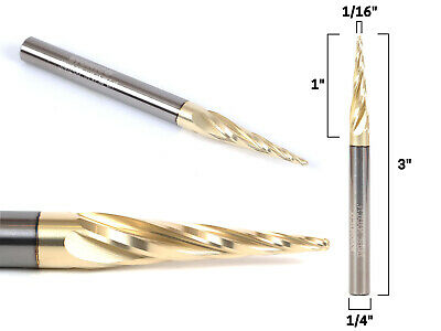 """1/16"""" 4 Flute Taper ZRN Coated CNC Router Bit - 1/4"""" Shank - Yonico 37412-SC"""