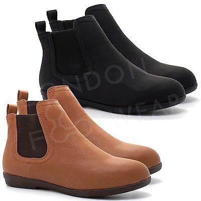 New Womens Flat Low Heel Chelsea Boots Ladies Classic Ankle Shoes Size UK 3-8