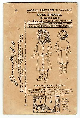 "Antique James McCall Doll Dress Pattern 14"" Doll ca 1900"