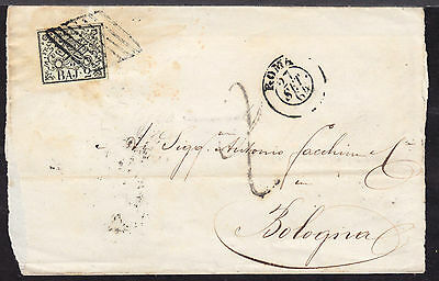 1864 ROMAN STATES #3 2b on LETTER SHEET FROM ROMA TO BOLOGNA