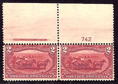 1898 TRANS-MISSISSIPPI EXPO IMPRINT PAIR #286 2c COPPER RED, VG-F, MINT NH