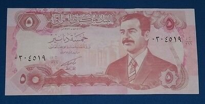 Saddam Hussein Rare Iraqi 5 Dinar bank Note Iraq Paper Money