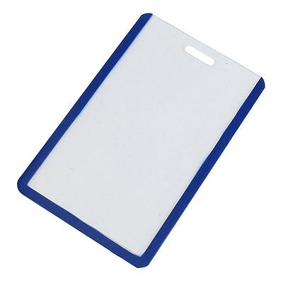 School Students Blue Clear Plastic Vertical Business ID Badge Card Holder