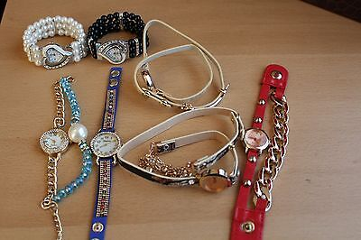 Wholesale/Joblot x7 Female Wrist-Wrap Watches with crystals, pearls, charms.