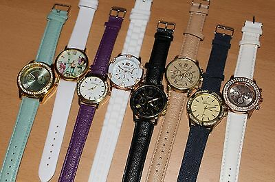 Joblot/Wholesale x8 Womens Watches Crystal Modern Leather Rose-Gold