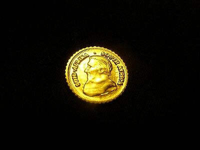 Krugerand Coin Mini Gold Plate HGE Coin 0.4g NICE