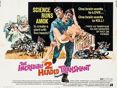 """Incredible Two Headed Transplant 16"""" x 12"""" Reproduction Film Poster Photograph"""