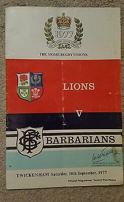 British lions v Barbarians 1977 rugby union programme