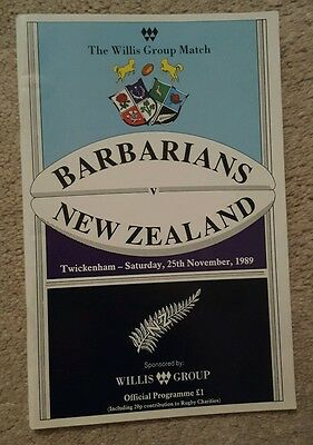 Barbarians v New Zealand 1989 rugby union programme
