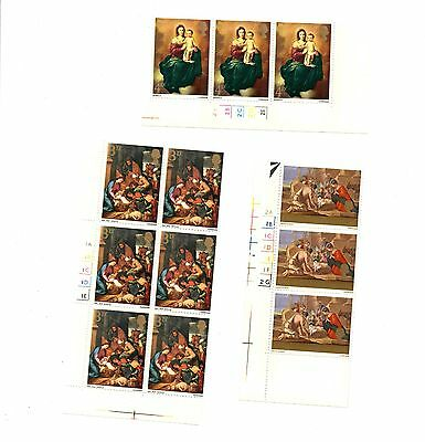 GB - 1967 Christmas mounted mint cylinder blocks of mint postage stamps