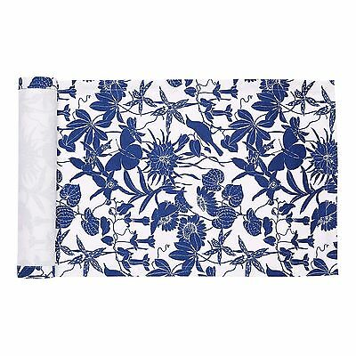 Swedish Cotton Table runner in Blue/White with Floral Design  (35x120cm)