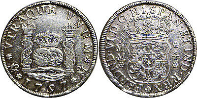1757 MM Mexico 4 Reales Silver Pillar KM #95 Very Fine Details