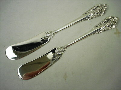 Pair Of Wallace Grande Baroque Sterling Flat Butter Knives 6 Avail No Mono Exc