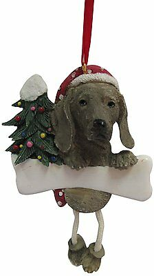 Weimaraner Dangling Wobbly Leg Dog Bone Christmas Ornament