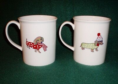 Box Set of 2 Winter Dachshund Dog Coffee Mugs
