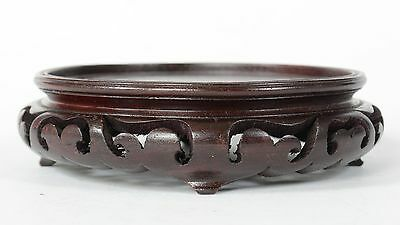 "5 3/8"" Vintage or Antique Chinese Carved Wood Vase or Bowl Stand 4 Legs"