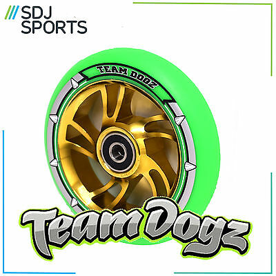 TEAM DOGZ 110mm SCOOTER WHEEL CHROME SWIRL CORE GOLD GREEN TYRE ABEC11 BEARING