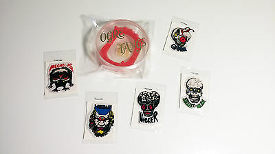 vintage OGRE (red vampire teeth) FANGS and puffy glow monster stickers lot