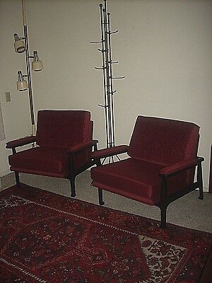 Pair Vtg Mid Century Asian Modern Chinese Ming Lounge Arm Chairs James Mont Era