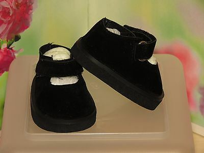 Shoes 2 Fit The Galoob Baby Face American Girl Doll  Black Suede Platform Velcro
