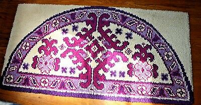 "Handcrafted Latch Hook Shillcraft Rug Completed Off White Pink Purple 28"" x 54"""