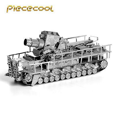 Piececool 3D Metal Puzzle Germany Railway Gun Tank P035S Laser Cut Models Toys