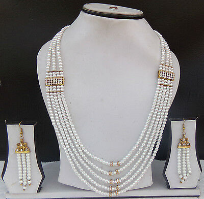 Indian Jewelry Necklace Earrings Pearl Ethnic Gold Plated Bollywood Earring Set