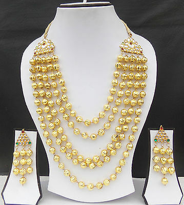 South Indian Ethnic Jewelry Set Gold Plated Beads Necklace Earrings Traditional