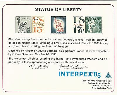 Usa Interpex 1985 Large Card - Statue Of Liberty 100 Years