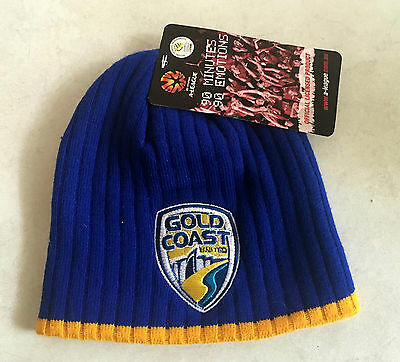 Gold Coast United Hyundai A League Blue Embroidered Beanie One Size New