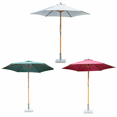 Outsunny φ9' x 8'H Wooden Round Market Patio Sun Umbrella Garden Parasol Outdoor