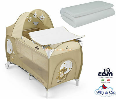 Cot CAM Daily Plus Bear travel beige + Mattress Willy & Co Camping