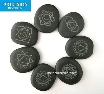 Seven Hot Massage Stones Chakra Set Natural Healing Therapy