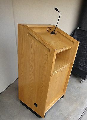 Oak Podium w dimmable light Standing Wood Lectern Mobile w attached dolly wheels