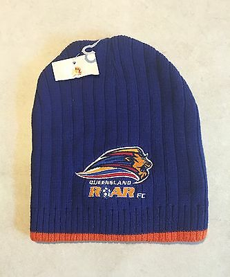 Queensland Roar FC Hyundai A League Blue Embroidered Beanie One Size New