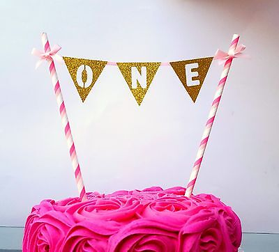 Number One First Birthday Cake Topper - Cake Bunting- First Wedding Anniversary
