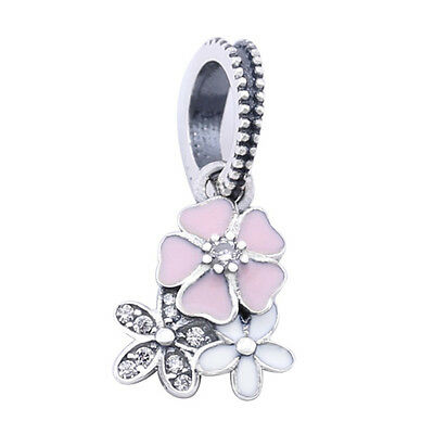 BLOOMS PENDANT 925 Solid Sterling Silver Poetic Flowers for Bracelet or Necklace